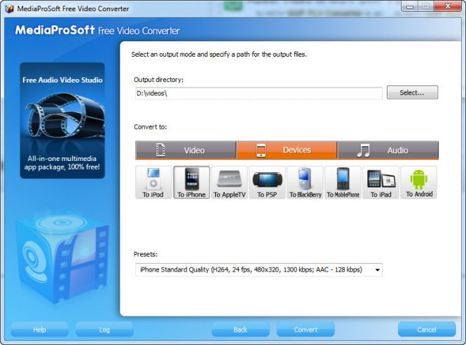 MediaProSoft Free Video Converter - device selecting