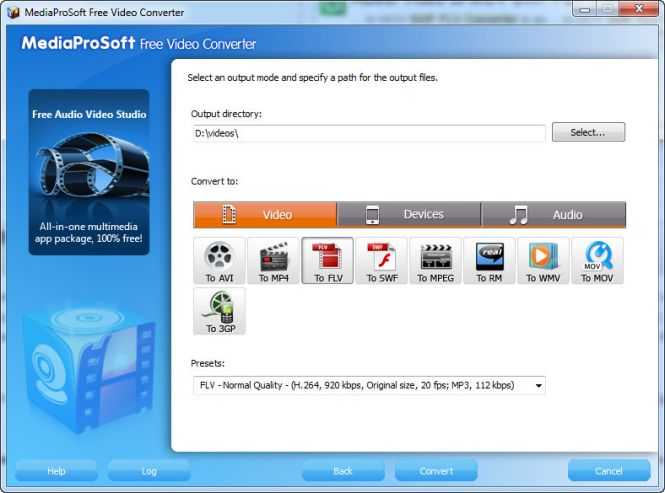 MediaProSoft Free Video Converter - select output format