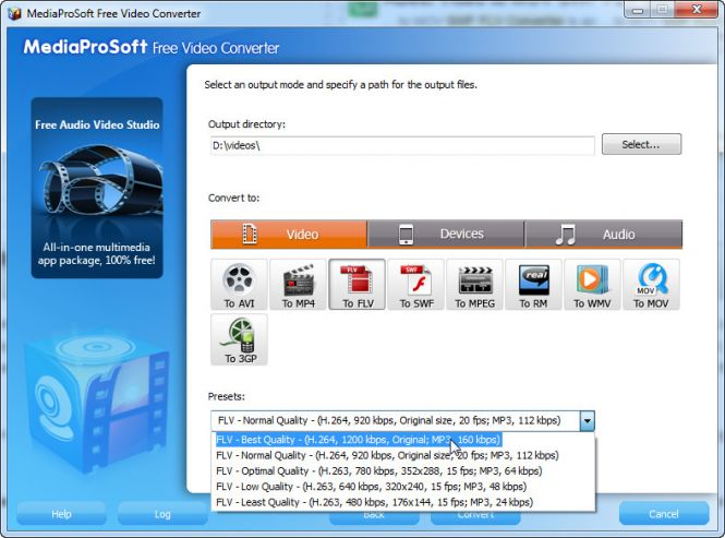 MediaProSoft Free Video Converter - Modify the quality