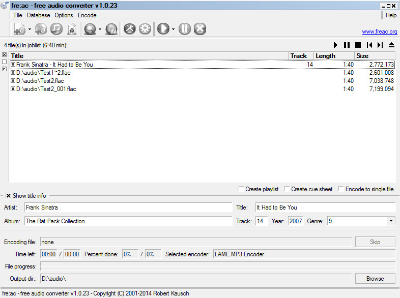 How to convert FLAC to MP4 Audio using fre:ac