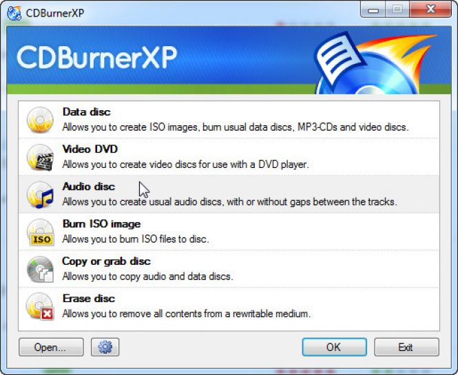 CDBurnerXP - first window