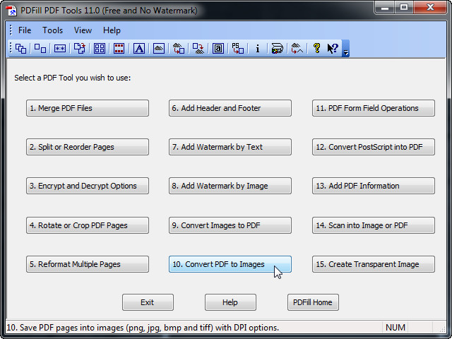 PDFill PDF Tools - Start the converting porcess