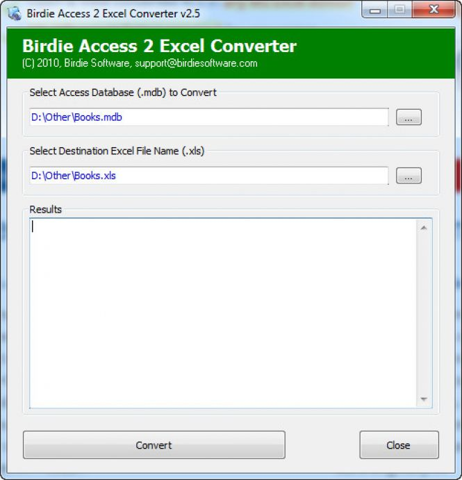 How to convert MDB to XLS with Birdie Access to Excel Converter
