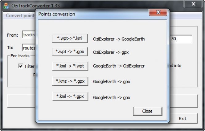 How to convert KMZ to GPX with OziTrackConverter