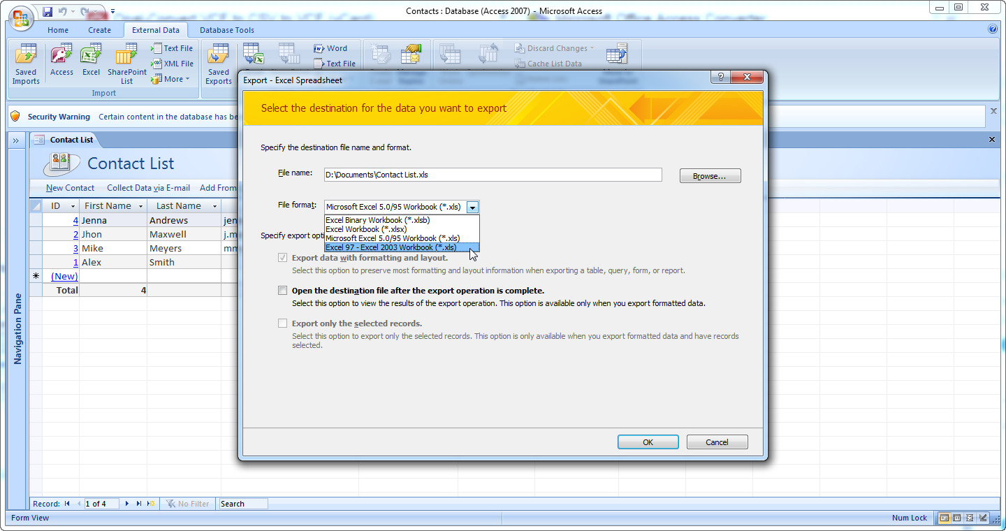 How to Convert DB to VCF using Microsoft Access and Opal