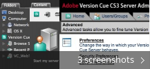 Screenshot collage for Adobe Version Cue CS3 Server