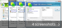 Screenshot collage for Fast Windows Hider