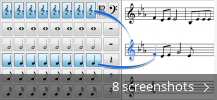 Screenshot collage for Crescendo Music Notation Editor